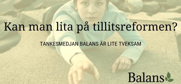 Tankesmedjan Balans svarar Tillitsdelegationen.