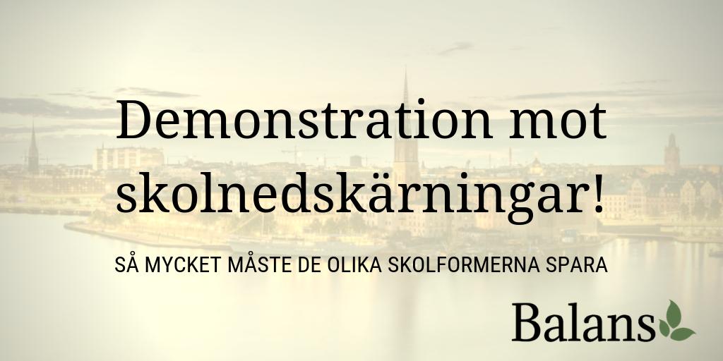Infoblad om skolnedskärningar i Stockholm